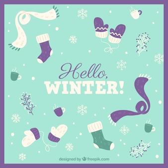 Zima w tle z elementami odzieży