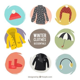 Zima wygodne ubranie opakowanie z akcesoriami