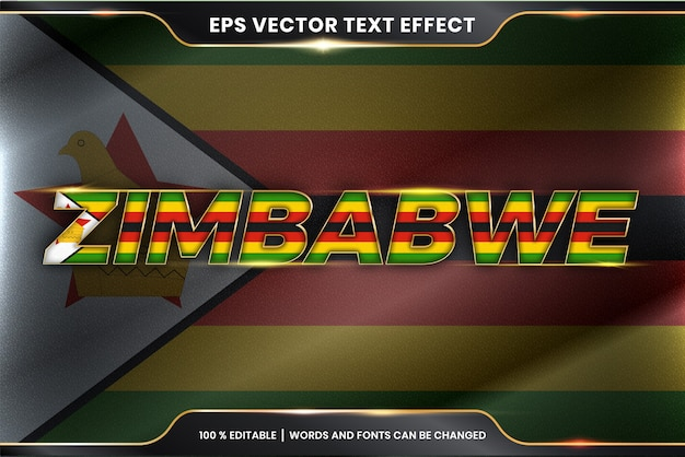 Zimbabwe z flagą narodową kraju, edytowalny styl efektu tekstu z koncepcją koloru złota