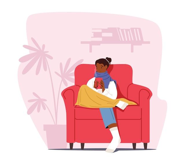 Zimna koncepcja domu. zamrażająca postać kobieca owinięta w ciepłą kratę i zimowe ubrania, siedząca w fotelu z gorącym napojem. niska temperatura stopni, mrozy. ilustracja kreskówka wektor