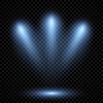 Zimne niebieskie oświetlenie z trzema reflektorami. efekty podświetlenia sceny na ciemnym przezroczystym tle. ilustracja wektorowa