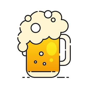 Zimne piwo ikona gotowa do projektowania, kartkę z życzeniami, baner. ilustracja wektorowa.