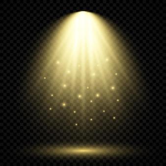 Zimne żółte oświetlenie z reflektorem. efekty podświetlenia sceny na ciemnym przezroczystym tle. ilustracja wektorowa