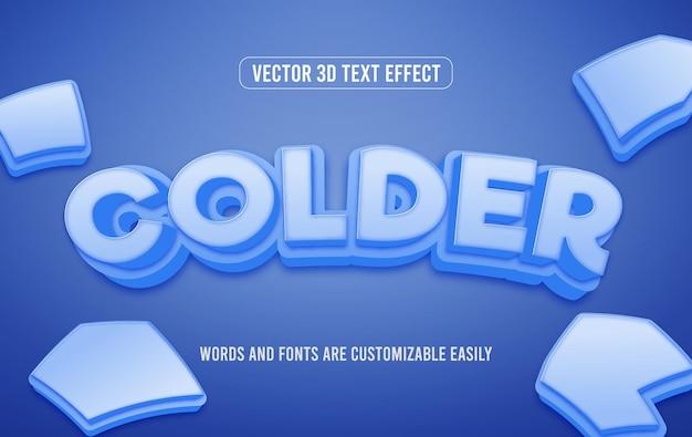 Zimniejsza zima 3d edytowalny styl efektu tekstowego