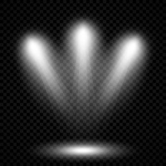 Zimnobiałe oświetlenie z trzema reflektorami. efekty podświetlenia sceny na ciemnym przezroczystym tle. ilustracja wektorowa