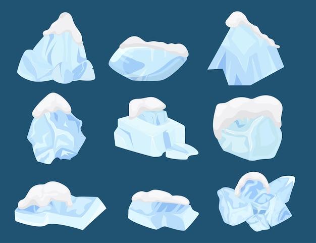 Zimny lód zestaw zimowy mróz ilustracja wektorowa kryształ niebieski wzór blok zamrożenie wody kolekcja i...
