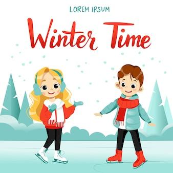 Zimowa aktywność dzieci. kreskówka chłopiec i dziewczynka jeździć na łyżwach razem na zamarzniętym jeziorze.