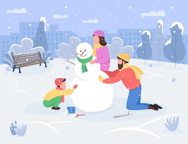 Zimowa aktywność rodzinna półpłaska ilustracja