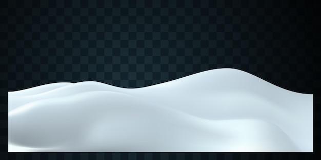 Zimowa dekoracja krajobrazu ośnieżonych wzgórz na ciemnym przezroczystym tle