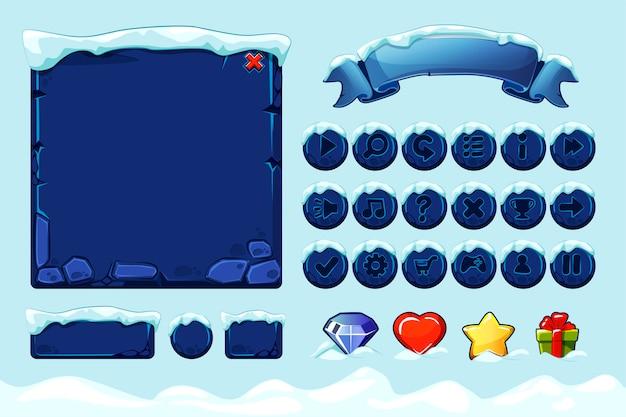 Zimowa gra ui kamienie przyciski ze śniegiem. ustaw zasoby kamienia, interfejs, ikony i przyciski dla gry ui.