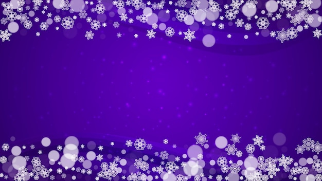 Zimowa granica z ultrafioletowymi płatkami śniegu. nowy rok tło. rama śnieżna na kupony upominkowe, vouchery, reklamy, imprezy okolicznościowe. boże narodzenie modne tło. wakacyjny mroźny baner z zimową obwódką
