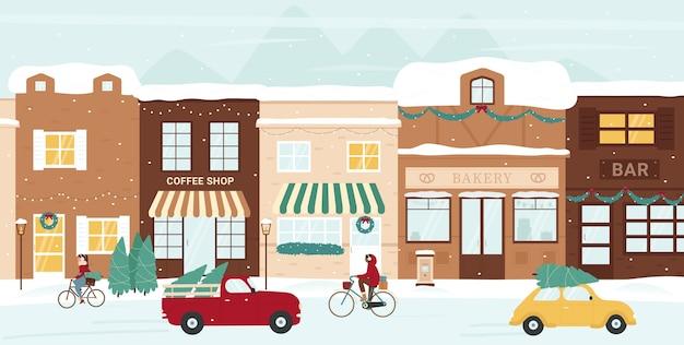 Zimowa ilustracja ulicy miasta.