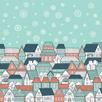 Zimowa ilustracja z domów, spadające płatki śniegu i miejsce na tekst