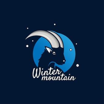 Zimowa ilustracja z kozą górską