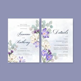 Zimowa karta ślubna z liliami, krokusami