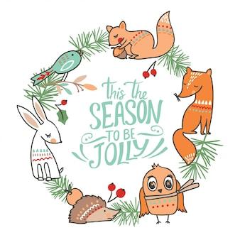 Zimowa kartka świąteczna zwierząt