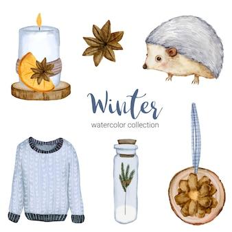 Zimowa kolekcja akwareli z długimi rękawami, słoikami, świecami i jeżami.
