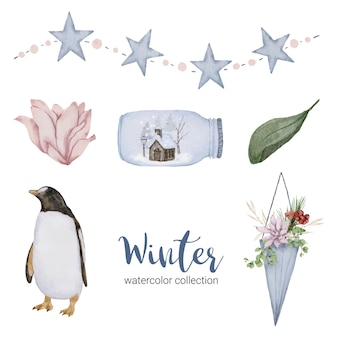 Zimowa kolekcja akwareli z liśćmi, kwiatami pingwina i słoikami.