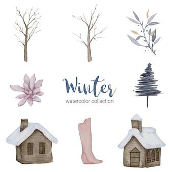 Zimowa kolekcja akwareli z przedmiotami do użytku domowego.