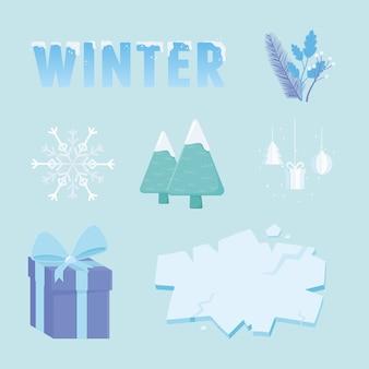 Zimowa kolekcja sprzedaży, prezent drzewo z literami i ilustracja lodu