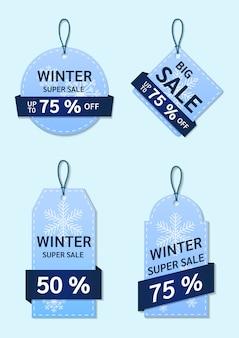 Zimowa kolekcja tagów sprzedaży.