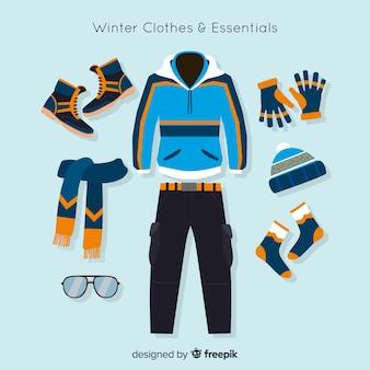 Zimowa kolekcja ubrań i artykułów pierwszej potrzeby