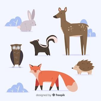 Zimowa kolekcja zwierząt leśnych