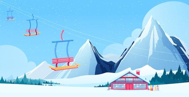 Zimowa kompozycja ośrodka narciarskiego z płaskimi symbolami domku i wyciągu narciarskiego