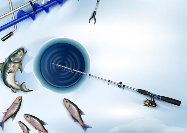 Zimowa kompozycja transparentu wędkarskiego realistycznych obrazów ryb z otworem w lodzie i ilustracją sprzętu rybnego