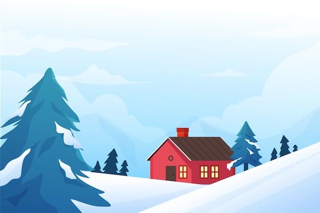 Zimowa koncepcja w płaskiej konstrukcji