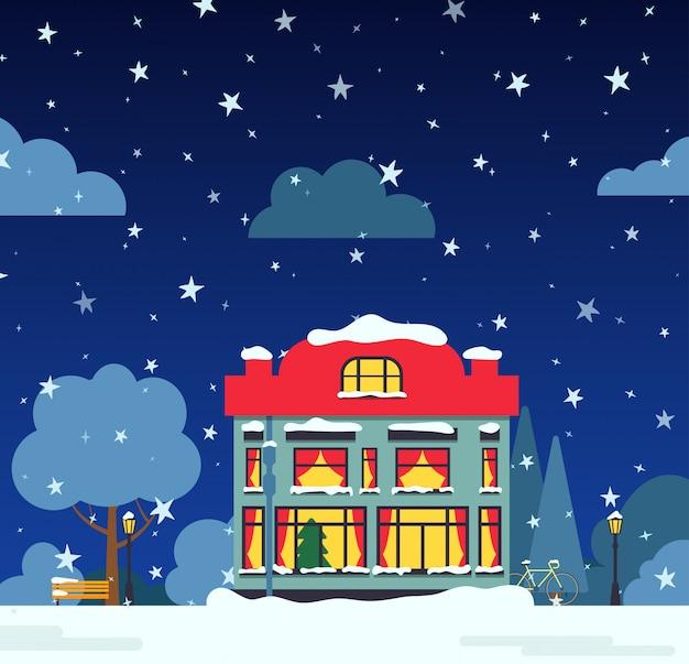Zimowa noc ulica z domu, drzew śnieg, chmury krzewów, płaskie karty kreskówka. wesołych świąt i szczęśliwego nowego roku wakacje transparent. krajobraz podmiejski