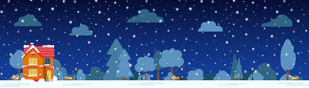 Zimowa noc ulica z domu, snowpark drzew, chmury krzewów, płaskie karty kreskówka. wesołych świąt i szczęśliwego nowego roku panoramiczny poziomy baner. miejski krajobraz