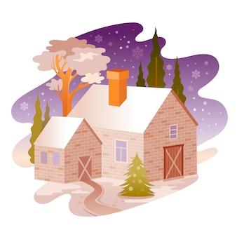 Zimowa noc wiejski dom krajobraz.