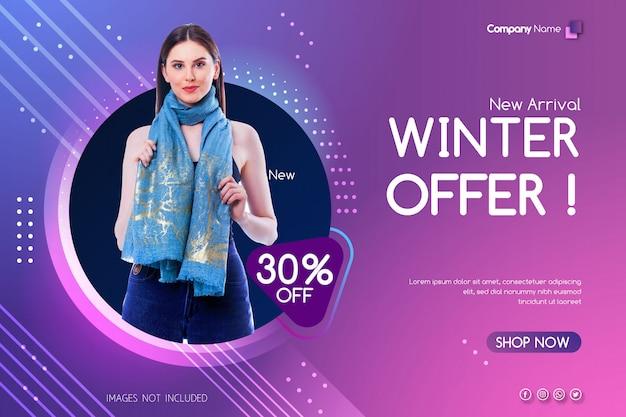 Zimowa oferta sprzedaży transparent