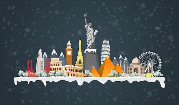 Zimowa podróż do świata. duży zbiór znanych zabytków świata.