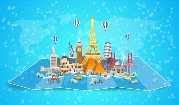 Zimowa podróż do świata. przerwa świąteczna. podróż samochodem. duży zbiór znanych zabytków świata. czas na podróże, turystyka, wakacje. różne rodzaje podróży. płaska konstrukcja