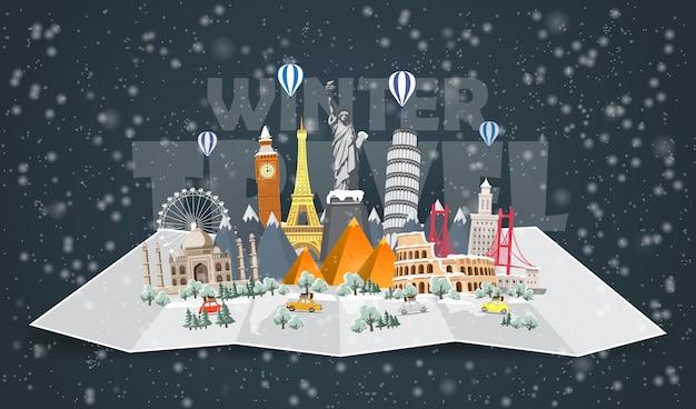 Zimowa podróż do świata. przerwa świąteczna. podróż samochodem. duży zestaw znanych zabytków świata. czas podróży, turystyki, wakacji. różne rodzaje podróży. płaska ilustracja