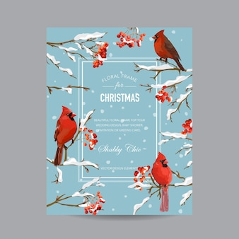 Zimowa ramka lub karta z ptakami i jagodami