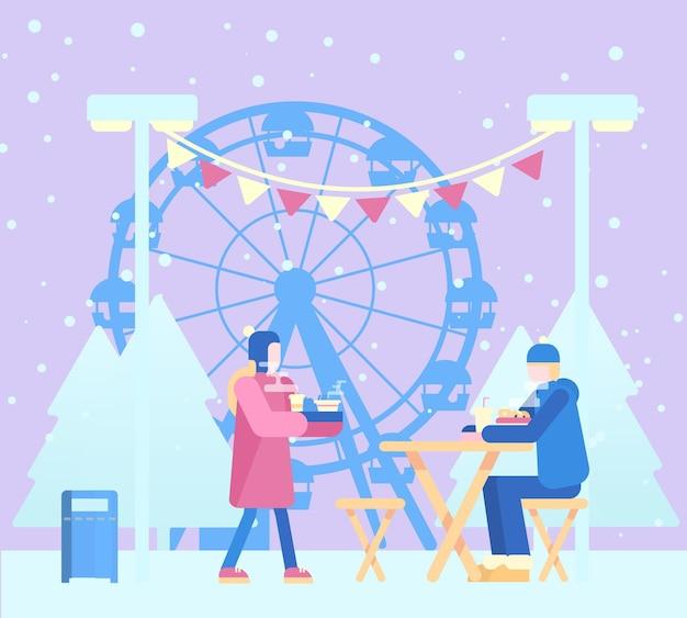 Zimowa scena z ludźmi w parku rozrywki jedzącymi na zewnątrz. uliczne jedzenie. płaska konstrukcja.