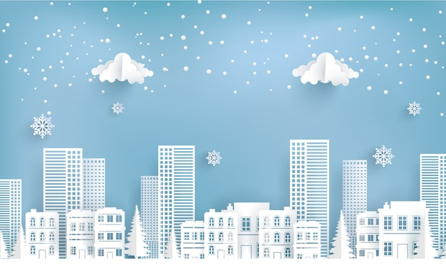 Zimowa sceneria w mieście. wesołych świąt.
