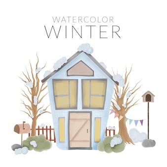 Zimowa sceneria z domem i drzewem akwarela ręcznie malowany styl