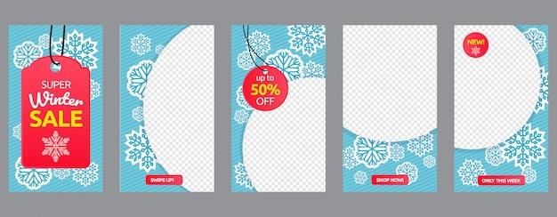 Zimowa sprzedaż historie mediów społecznościowych zestaw szablonów promocji marketingowej firmy