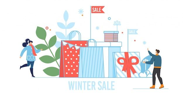 Zimowa sprzedaż metafora ilustracji