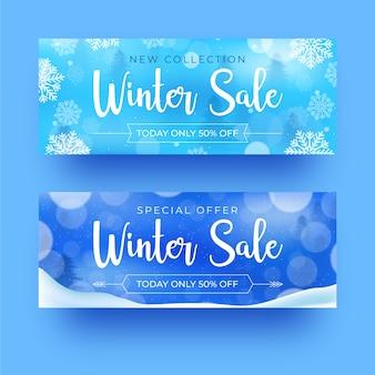 Zimowa sprzedaż realistyczne banery
