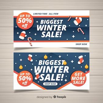 Zimowa sprzedaż santa akcesoria banner