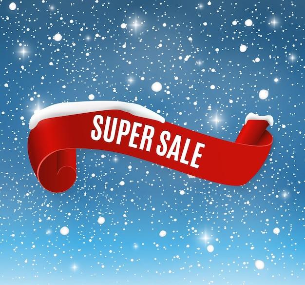 Zimowa sprzedaż tło z czerwonym realistycznym sztandarem wstążki i śniegiem.