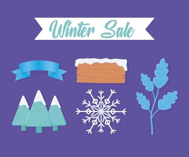 Zimowa sprzedaż zestaw drzewo, deska, płatki śniegu i drzewo