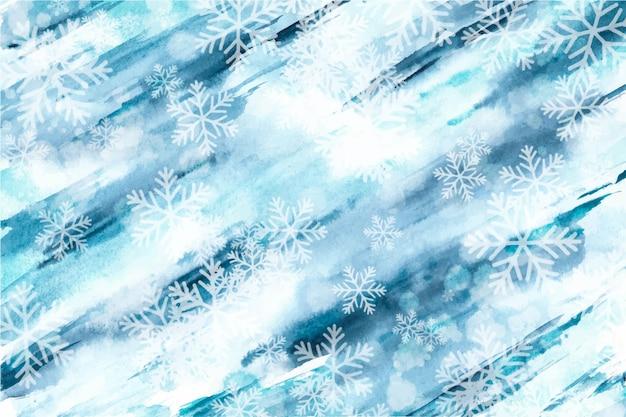 Zimowa tapeta w stylu przypominającym akwarele