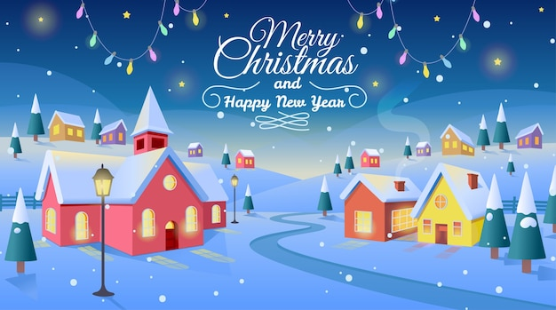 Zimowa wioska. boże narodzenie tło z domami i kościołem.