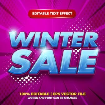 Zimowa wyprzedaż 3d komiksowy styl szablonu edytowalnego efektu tekstowego